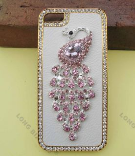 PU Leather Peacock Diamond Rainstone Bling Case Cover Skin for iPhone