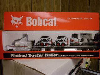 Bobcat 1 50 Scale Flatbed Tractor Trailer With Loaders and Excavators