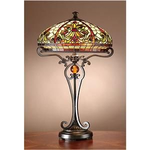 Antiques Roadshow Boehme Series Tiffany Style Stained Glass Table Lamp