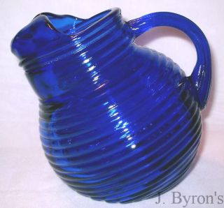 Cobalt Blue Glass Art Deco Ribbed Ribbed Ball Pitcher