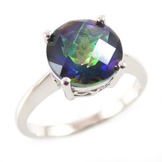 3ct Genuine Rainbow Blue Topaz Ring 925 Sterling Silver Size 7 ROUND