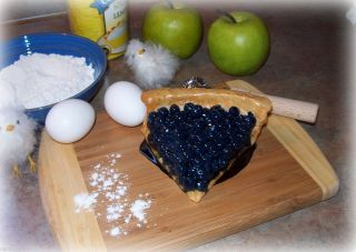 Fake Slice Blueberry Tart or Pie Faux Food Photo Prop Home Decor