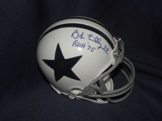 Bob Lilly Signed Dallas Cowboys Retro White Mini Helmet