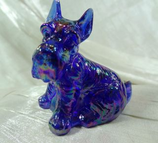 Charlie Scottie Dog Scottish Terrier Cobalt Blue Carnival Glass Scotty
