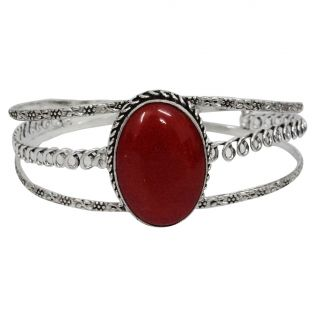 Red Coral Stone Handcrafted Cuff Bracelet Fashion Jewelry Women