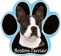Bossy Boston Terrier Dog on Paw Shaped Computer Mouse Pad