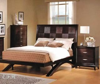 New Bova Contemporary Espresso Platform Wood Queen Bed