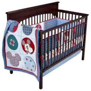 Baby Boy Mod Mickey Mouse Crib Bedding Set Nursery Sheet Disney Mobile
