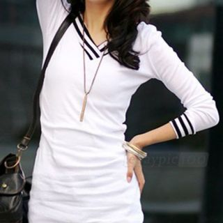 Long Sleeve T Shirt Top Slim Mini Dress Women White Black Grey