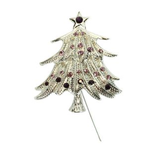 New 3 Pcs Star Christmas Tree Shaped Brooches Pins Rhinestone