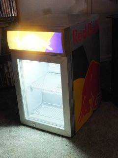 RED BULL MINI REFRIGERATOR FRIDGE   LOOKS AND WORKS GREAT