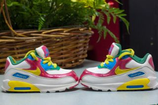 Girls boy sz7 US Nike Shoes Kids Nike Air Max 90 White Pink Yellow
