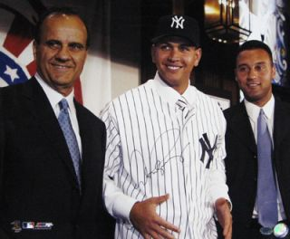 Alex Rodriguez Signed 16x20 w Joe Torre Derek Jeter Yankee Welcoming