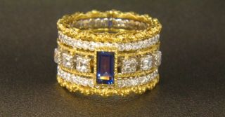 Buccellati 18K Two Tone Gold Diamond Sapphire Band Ring