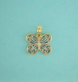 10K Solid Yellow White Gold Butterfly Charm Filigree 5 8 Inch 16mm