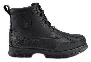 Polo Ralph Lauren Burson Mens Leather Boots Black Winter Outdoor