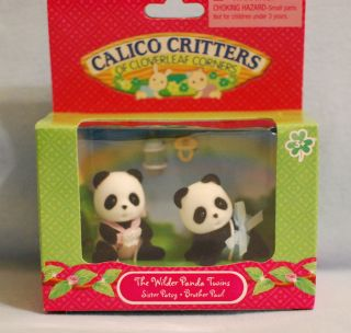Calico Critters WILDER PANDA BEAR TWINS Patsy Paul NEW Babies Bottle