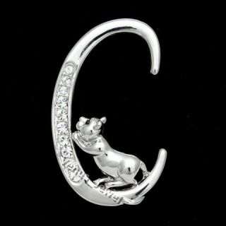 Cute Cat Kitten Climbing Letter C Rhinestone Crystal Brooch Pin B995
