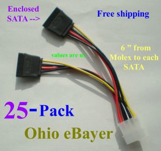 25 X   4 PIN IDE Molex To 2 SATA Power cable adapters   6 Long