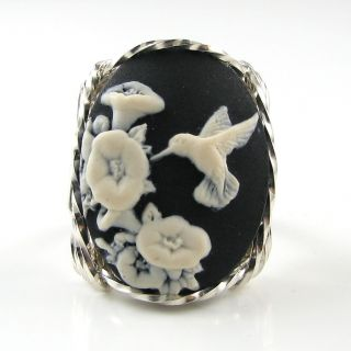 Hummingbird Flower Cameo Ring Sterling Silver Custom Jewelry