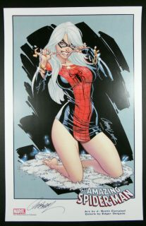Scott Campbell Signed ASM 607 Black Cat Print Marvel
