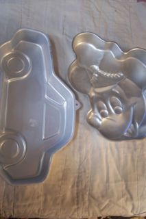 Ad 14 2 Wilton Cake Pans Car and Mickey Mouse