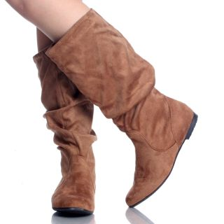 Slouch Scrunch Pull on Flat Womens Mid Calf Boot Size 7