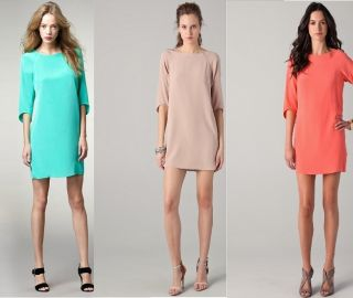 2012s Sauth Newus$375 Tibi Heavy Silk Shift Dress US 0 2 4 6 in Coral