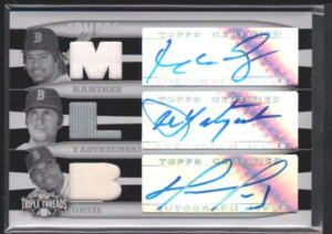 Manny Ramirez Carl Yastrzemski David Ortiz Triple Threads Auto Jersey