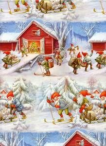 Christmas Gift Wrap by Lars Carlsson Santa Gnome Elf 4325