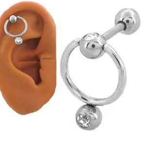 316L Surgical Steel Ear Cartilage Piercing Ring Jewelry Hoop CZ 18g