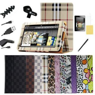 Folio Stand PU Leather Case Cover for Kindle Fire HD 7 Tablet Multi