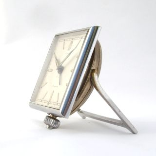 Angelus 8 Days Art Deco Silvered Alarm Clock 1930S