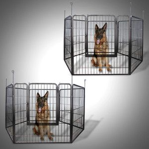Large Heavy Duty Cage Pet Dog Cat Barrier Fence Exercise Metal Play