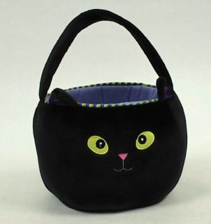 Adorable Soft Plush Black Halloween Cat Bucket / Trick or Treat Bag