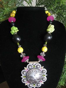 Western Cowgirl Concho Rodeo Bling Chunky Necklace