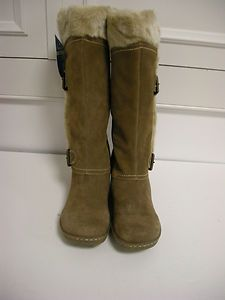 BARE TRAPS 8M TAUPE SUEDE FAUX FUR LINED BOOTS CATHY NIB $96