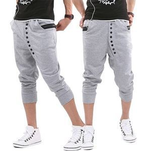 Mens Casual Crop Pants Button Design Trousers M XXL 3Colors Free SHIP