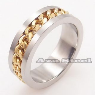 Mens Silver Gold Chain Center Stainless Steel Ring US Size 7 8 9 10