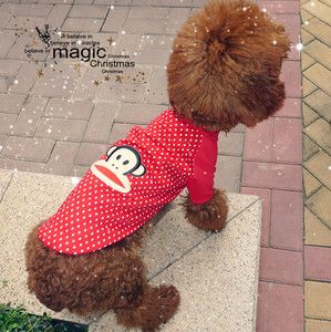 New Pet Dog Cat Red White Dot Dog Shirt Clothes Apparel Pet Supplies S