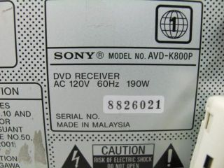 Sony AVD K800P CD DVD Video CD 5 Disc Changer Player