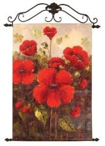 Garden Red Poppies Canvas Art Oil Painting Wall Hanging