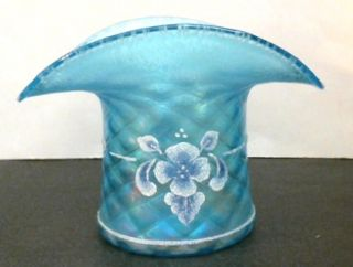 FENTON CELESTE BLUE ART GLASS VASE HAT CORALENE FLORAL #1137JE 90th
