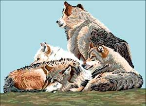 Wolf Pack Southwest Wild Animals Wolves Cross Stitch
