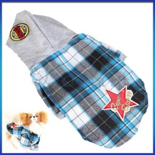 Cotton Check Plaid Super Star Pet Dog Yorkie Hoodie Hood Shirt Apparel
