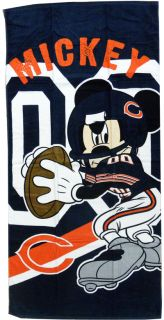 Chicago Bears NFL Disney Mickey Mouse Quarterback Beach Towel 30 x 60