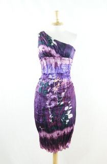 Suzi Chin Maggy Boutique Purple Crinkle Silk Floral Cocktail Dress 6