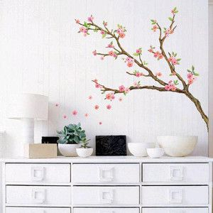 CHERRY BLOSSOM Tree Adhesive Removable Wall Decor Accents Peel Stick