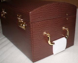 new bey berk brown large leather jewelry box chest up for