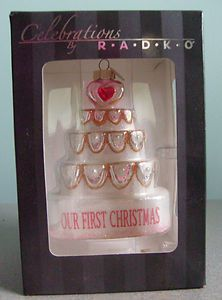 Christopher Radko Our First Christmas Wedding Cake Ornament